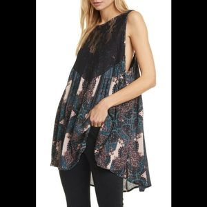 Free People Count Me In Trapeze Top Hot Blk Combo